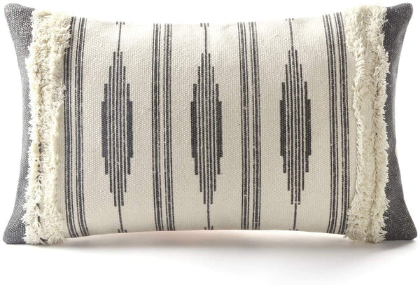 Ailsan Decorative Pillow Covers Black Nordic Printed Tufted Couch Pillows,Geometric Stripes Throw Pillow Covers for Sofa Couch Bedroom Farmhouse