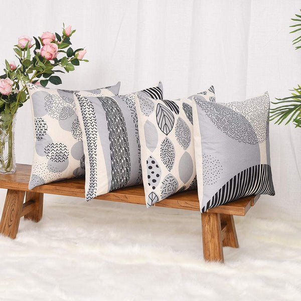 YINNAZI Fashion Geometric Pattern Throw Pillow Covers Square Decorative Cushion Case for Sofa Printing Pillowcase, 18x 18 Inch, Set of 4, Many Color (Grey)