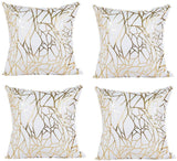 Vinerstar White Sofa Throw Pillow Covers 18 x 18 (45cm x 45cm) Gold Stamping Love Tree Geometric Square Decorative Super Soft Cushion Cover for Sofa Couch Patio (Irregular Set of 4)
