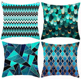 Cocery Throw Pillow Covers Modern Geometric Style Soft Polyester Square Decorative Pillow Case Cushion Case for Sofa Couch Chair 18 x 18 Inches, Set of 4