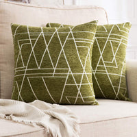MIULEE Pack of 2 Decorative Throw Pillow Covers Woven Textured Chenille Cozy Modern Concise Soft Moss Green Square Cushion Shams for Bedroom Sofa Car 18 x 18 Inch