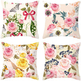 TongXi Cartoon Flowers Pattern Soft Cushion Covers Decorative Throw Pillows Case for Sofa 18x18 inches Pack of 4