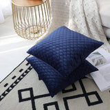 "Rythome Set of 2 Decorative Throw Pillow Cover Bedding, Comfortable Accent Cushion Sham Case Couch Sofa, Soft Solid Quilted Velvet Zipper Hidden - 16""x16"", Royal Blue"