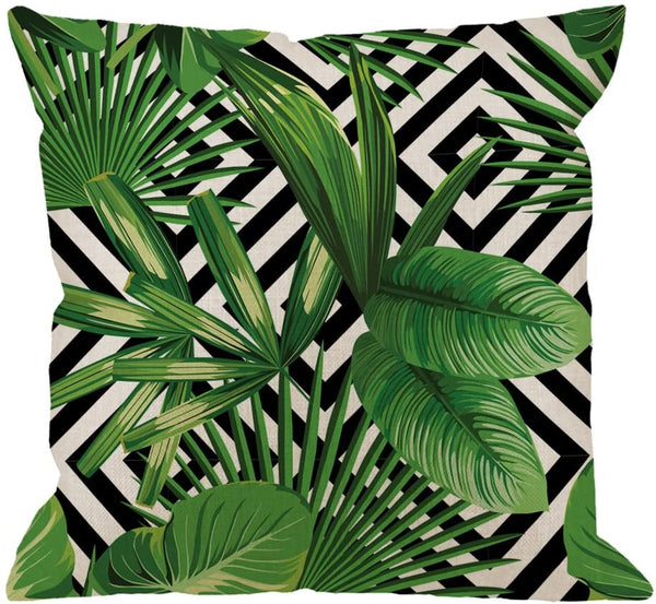 HGOD DESIGNS Palm Pillow Case, Summer Exotic Jungle Plant Tropical Palm Leaves on The Geometric Cotton Linen Cushion Cover Square Standard Home Decorative Throw Pillow 18x18 inch White Black Green