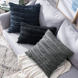 MIULEE Set of 2 Decorative Boho Throw Pillow Covers Cotton Linen Striped Jacquard Pattern Cushion Covers for Sofa Couch Living Room Bedroom 18x18 Inch Dark Grey