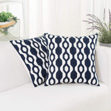 HWY 50 Decorative Embroidered Throw Pillows Covers Set Cushion Cases for Couch Sofa Bed Deep Blue 18 x 18 inch Pack of 2 Modern Simple Geometric