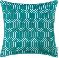 BRAWARM Pack of 2 Cozy Fleece Throw Pillow Covers Cases for Couch Bed Sofa Manual Hand Painted Print Chevron Geometric with Cording Both Sides 18 X 18 Inches Seaport Blue