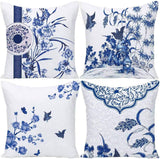 Wilproo Blue Geometric Throw Pillow Covers, Decorative Cushion Covers Pillowcase Cushion Case for Sofa Bed 16 x 16 Inch Set of 4