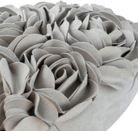 JWH 3D Rose Flower Handmade Accent Pillow Valentine's Day Cushion Decorative Heart Shape Pillow Case Home Couch Bed Living Guest Room Chair Car Decor Wife Girlfriend Gift 13 x 16 Inch Light Gray