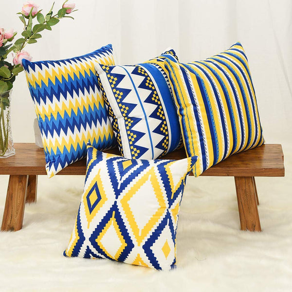 YINNAZI Geometric Pattern Double-Sided Printing Velvet Square Throw Pillow Cases Decorative Cushion Covers for Couch Sofa Chair Bench 18 Inch Set of 4 Blue Navy and Yellow