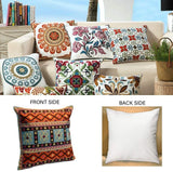 MeMoreCool Super Soft Cotton Square Throw Pillow Cover, Orange Floral Geometric Pattern Pillowslip for Bed Couch Chair Car Home Office, Cute Special Pillowcase Pack of 1, 18 x 18 Inches