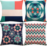 ZUEXT Geometric Throw Pillow Covers 18x18 Inch Double Sided, Set of 4 Cotton Linen Indoor Outdoor Modern Pillow Case Cushion Cover for Car Sofa Home Decor (Coral Navy Aqua Beige Grey, Mix and Match)