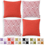 "HPUK Set of 4 Decorative Throw Pillow Covers Geometric Design Cushion Pillowcases for Couch Sofa Bed Car, 17""x17"", Coral"