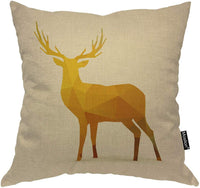 Moslion Deer Pillow Case Animal Geometric Mosaic Cute Deer Back Antler Throw Pillow Cover 18 x 18 Inch Cotton Linen Canvas Decorative Cushion Cover for Men Women Yellow