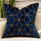 Avigers 18 x 18 Inches Navy Blue Gold Plaid Cushion Case Luxury European Throw Pillow Cover Decorative Pillow for Couch Living Room Bedroom Car