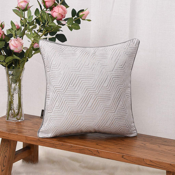 YINNAZI 18 x 18 Inch Square Cushion Case for Couch, Abstract Geometric Stripe Double-Side Weave Pattern Throw Pillow Cover, Thickened Durable Cotton Polyester Fabric, Set of 4 (Grey, 18 x 18 Inch)