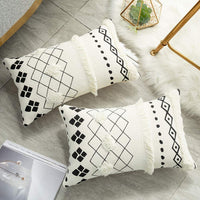 HMKEY TOYS Black White Pillow Covers Geometric Lumbar Pillow Cover Decorative Tufted Throw Pillow Case Rectangle Boho Cushion Cover for Couch Home Sofa Car Chair Bedroom(12 x 20 Inch,Set of 2)