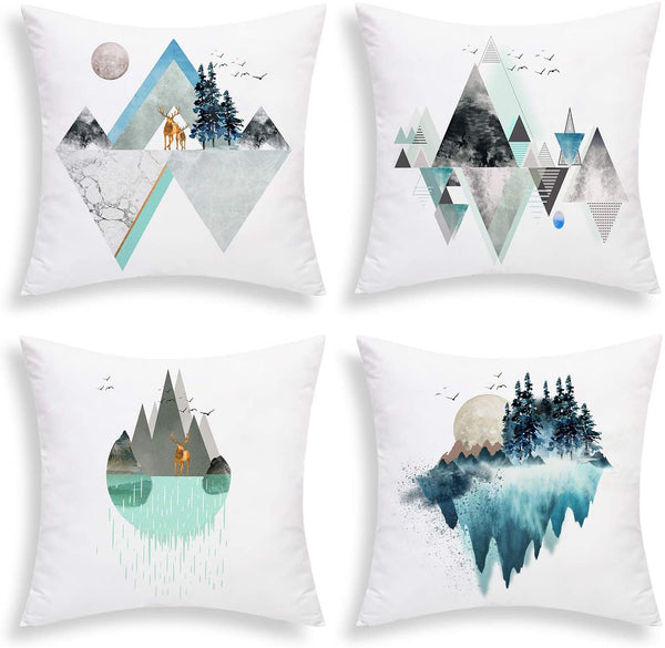 "BLEUM CADE Throw Pillow Covers Abstract Mountain Pillow Covers Abstract Geometric Throw Pillow Case Set of 4 Abstract Mountain Gemoetry Cushion Cover for Sofa Couch Bed Car (Blue Green, 18""x 18"")"