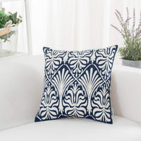 HWY 50 Navy Blue Decorative Embroidered Rectangle Throw Pillow Covers Cushion Cases for Couch Sofa Bed Accent Lumbar Small 12 x 20 inch 1 Piece Floral Decor