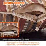 Naconic Electric Heated Throw Pillow Scatter Cushion with Hand Pockets Warmer, 3 Heating Levels, Operated by Powerbank [Strip Pattern]