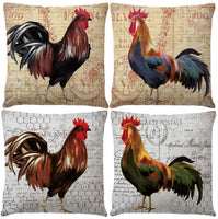"7COLORROOM Set of 4 Vintage Rooster Farmhouse Style Pillow Covers Rustic Cock Cushion Covers with Geometric Pattern Country Home Decorative Cotton Linen Pillowcases 18"" x 18"" (Rustic Cock)"