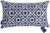 Aitliving Decorative Throw Pillow Cover Cotton Canvas Muted Slate Blue Trellis Embroidery Dark Blue Mina Lumbar Pillow Case Cushion Cover, 1 pc 12x20 inch, Navy Blue Lumbar Pillow Cover