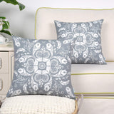 CaliTime Pack of 2 Poly Canvas Throw Pillow Covers Cases for Couch Sofa Home Decoration Creative Leaves & Feathers Dahlia Floral Print 18 X 18 Inches Medium Grey