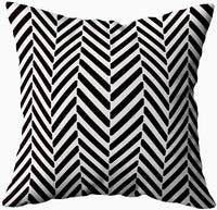 TOMWISH Throw Pillow Covers,TOMKEY Hidden Zippered 16X16Inch Abstract Geometric Black White Herringbone Pattern Decor Throw Cotton Pillow Case Cushion Cover for Home Decor