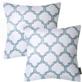 "Phantoscope New Living Series Decorative Throw Pillow Cushion Cover Set of 2 18"" x 18"" Geometric Graphic White"