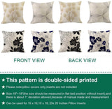 "Zeimon Set of 4 Modern Living Decorative Cotton Linen Geometric Floral Square Throw Pillow Cases Cushion Covers Double Side Design 18"" x 18"" 45cm x 45cm(Floral)"