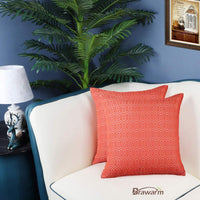 BRAWARM Pack of 2 Soft Jacquard Throw Pillow Covers Cases for Couch Sofa Home Decoration Geometric Chevron Figure 22 X 22 Inches Cream