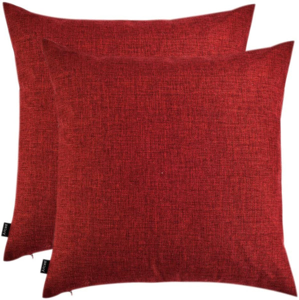 Artcest Set of 2, Decorative Linen Bed Throw Pillow Case, Sofa Durable Modern Stylish, Comfortable Cushion Cover for Couch (Burgundy, 18x18 inches)