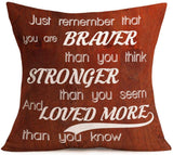 "Hopyeer Quote Saying Decor Throw Pillow Covers Rustic Wooden Board with Motivational Words Love Cotton Linen Decorative Pillow Covers for Home Sofa Bed Room Pillowcase 18""x18"" (Words Love)"
