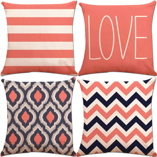 ZUEXT Love Theme Accent Geometric Throw Pillow Covers 18x18 Inch 2 Side Print, Set of 4 Cotton Linen Navy Coral Stripes Square Cushion Pillowcases for Car Couch Home Decor Mothers