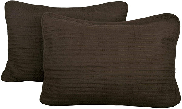 "Home Soft Things Serenta 2 Piece Brockton Quilted Sham Set, Chocolate, 21"" x 27"""