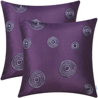 CaliTime Pack of 2 Cushion Covers Throw Pillow Cases Shells for Sofa Couch Home Decoration 18 X 18 Inches Modern Random Circles Rings Geometric Chain Embroidered Purple