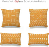 "Hofdeco African Mudcloth Lumbar Pillow Cover ONLY, Mustard Yellow, 12""x20"", Set of 2"