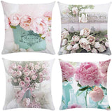 XIECCX Spring Throw Pillow Covers 18x18 Set of 4 Valentine's Day Spring Decor Love Letters Bird Pillowcases Farmhouse Cotton Linen Cushion Covers for Couch Sofa Hidden Zipper