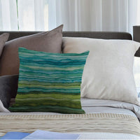 HGOD DESIGNS Abstract Stripes Throw Pillow Cover,Watercolor Geometric Multicolor Stripes and Teals Ink Texture Decorative Pillow Cases Cotton Linen Square Cushion Cover for Home Sofa Couch 18x18 inch