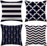 "WFLOSUNVE Home Geometric Decorative Throw Pillow Covers 18""x 18"" Set of 4, Faux Linen Grey & Black Stripe Pillow Case Cushion Cover for Bed and Couch"