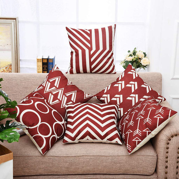 YINNAZI Modern Geometric Pattern Throw Pillow Covers Square Cushion Case for Couch Decorative Pillowcase for Home Decor Set of 6 Solid Color Burgundy 18x 18 Inch