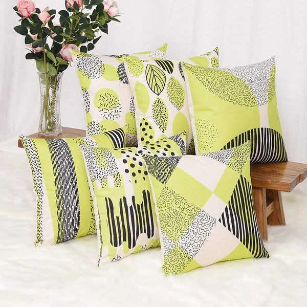 YINNAZI Modern Geometric Pattern Throw Pillow Covers Square Cushion Case for Couch Decorative Pillowcase for Home Decor Set of 6 Solid Color (Yellow Green)