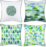 Geometric Throw Pillow Covers,Cotton Linen Pillow Covers Double-sided Printing Modern Geometric Abstract Cushion Covers Square Decorative Throw Pillow Cases with Black Piping 18x18 Inch,Set of 4