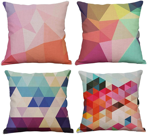 YeeJu Set of 4 Geometric Decorative Throw Pillow Covers Square Cotton Linen Cushion Covers Outdoor Sofa Home Pillow Covers 18x18 Inch