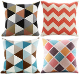 Wonder4 Modern Simple Geometric Style Covers Colorful Stripe Vintage Style Cotton Linen Square Throw Pillow Case Decorative Cushion Cover Pillowcase for Sofa,Bed,Chair,Auto Seat 18 x 18 Set of 4