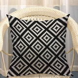 Mugod Jagged Pattern Decorative Throw Pillow Cover Case Geometric Wavy Line Cross-Shaped Black and White Cotton Linen Pillow Cases Square Standard Cushion Covers for Couch Sofa Bed 18x18 Inch