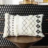 HMKEY TOYS Lumbar Pillow Cover Black White Geometric Decorative Tufted Throw Pillow Case Rectangle Cushion Cover for Couch Home Sofa Car Chair Bedroom,12 x 20 Inch(Cover Only,No Insert)