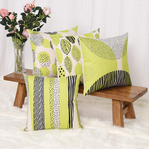 YINNAZI Fashion Geometric Pattern Throw Pillow Covers Square Decorative Cushion Case for Sofa Printing Pillowcase, 18x 18 Inch, Set of 4, Many Color (Yellow Green)