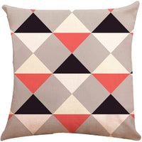 ZUEXT Coral Valentines' Day Love Theme Geometric Throw Pillow Covers 18x18 Inch Set of 6, Cotton Linen Indoor Outdoor Cushion Pillowcase for Car Sofa Home Decor(Coral Navy New Living Seris)