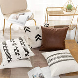 Pillow Covers Set – Decorative Black and White Throw Cushion Covers – Set of 5 Modern Tribal Pillows – Cotton and Leather Aztec Home Décor – Modern and Minimalist 18 x 18-inch Cushion Covers